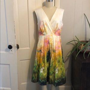 Lafayette 148 water color print sleeveless dress
